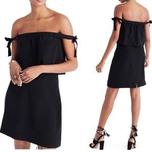 Madewell Black Off Shoulder Silk Midi Dress